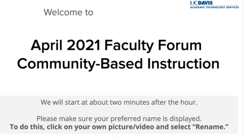 Thumbnail for entry Faculty Forum-April 2021-Community-Based Instruction