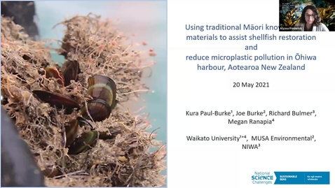 """Thumbnail for entry BML - Kura Paul-Burke: """"Using traditional Māori knowledge and materials to assist shellfish restoration and reduce microplastic pollution in Ōhiwa harbour, Aotearoa New Zealand."""""""