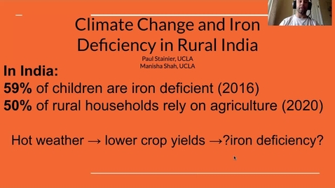 Thumbnail for entry UFWH 2021 - Paul Stainier_The Effects of Hot Weather on Rural Indian Diet Quality_ A Focus on Iron