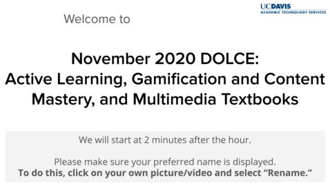 Thumbnail for entry DOLCE - November 6, 2020
