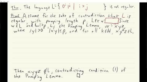 Thumbnail for entry ECS 120 5b:8 pumping lemma proof that 0i1j is not regular