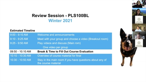 Thumbnail for entry PLS100BL Live Session - Video Project & Review Session (Labs 1-8)