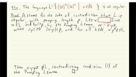Thumbnail for entry ECS 120 5b:9 pumping lemma proof that (01)n(10)n is not regular