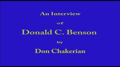 Thumbnail for entry Donald Benson