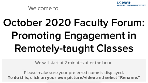 Thumbnail for entry Faculty Forum - October 16, 2020