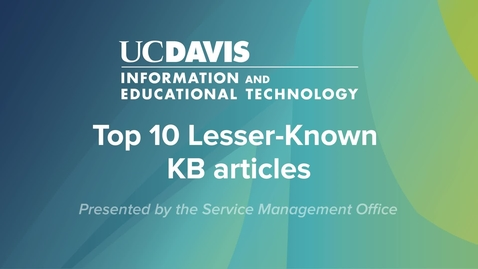Thumbnail for entry SNUG Top 10 Lesser-Known KB articles