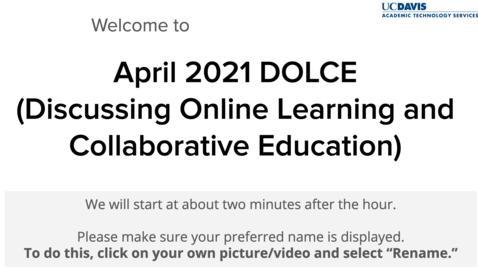 Thumbnail for entry  DOLCE- April 2, 2021- Aggie Square