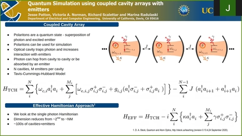 Thumbnail for entry Quantum simulation using coupled cavity arrays with emitters
