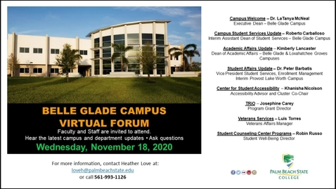 Thumbnail for entry Belle Glade Campus Virtual Forum - 11.18.20