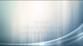 Thumbnail for entry Syllabus: Delete and Re-upload