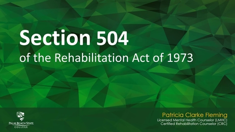 Thumbnail for entry Section 504 of the Rehabilitation Act of 1973