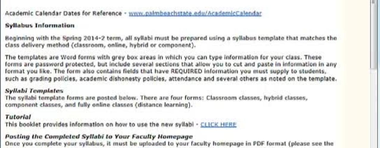 Syllabus: Using the Syllabus Template