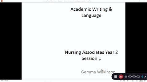 Thumbnail for entry Nursing Associates year 2 session 1 Writing at Level 5