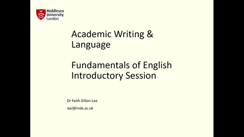 Thumbnail for entry Fundamentals of English Introduction Session 2021 - Quiz