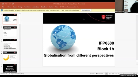 Thumbnail for entry Block 1b - Lecture - Globalisation - (15/2/21)
