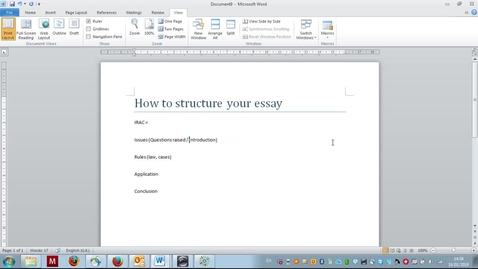 Thumbnail for entry Using Word to structure law essays