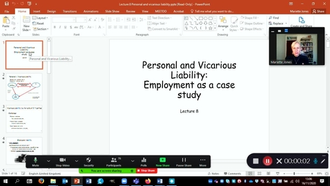 Thumbnail for entry Recording: Lecture 8 Vicarious liability