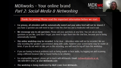 Thumbnail for entry Online branding Part 2 of 3 - Social Media and Networking