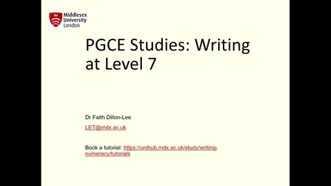 Thumbnail for entry PGCE: Writing at Level 7