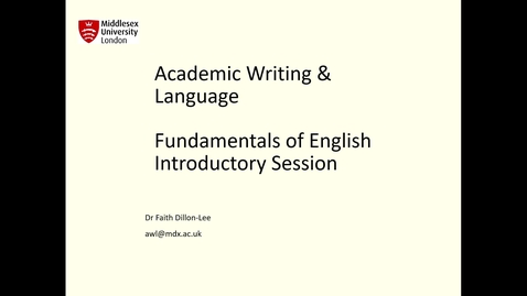 Thumbnail for entry Fundamentals of English Pre-course Introduction