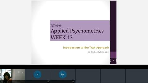 Thumbnail for entry Rec- Jan 21, 2021 4:35 PM - PSY4046 Applied Psychometrics.mp4