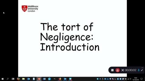Thumbnail for entry Negligence: introduction to the duty of care- October 15th 2019, 6:02:04 pm