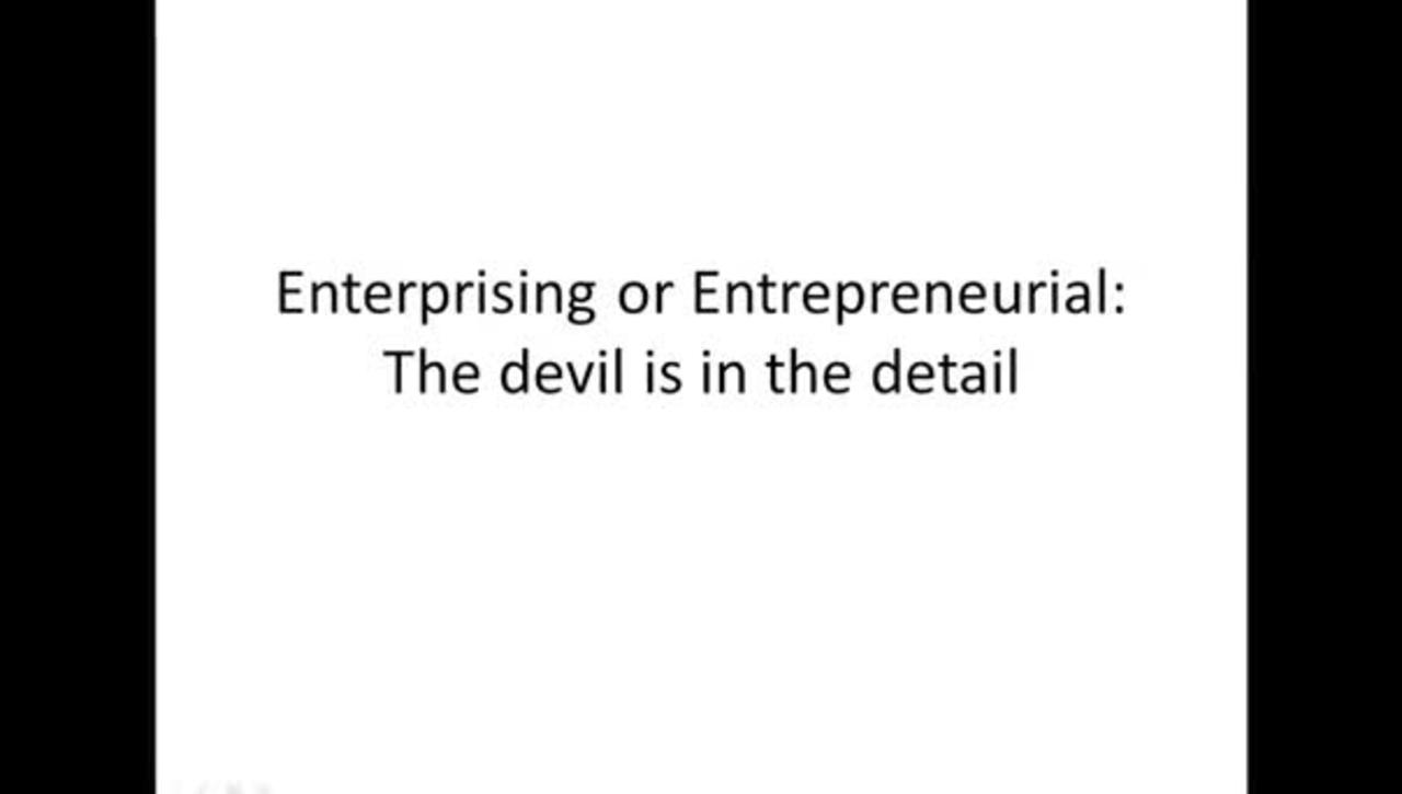 AEE: Enterprising or Entrepreneurial: The devil is in the detail