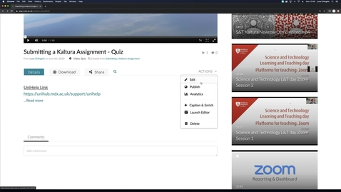 Thumbnail for entry Adding Co-Owners, Attachments and Enabling the Download Option