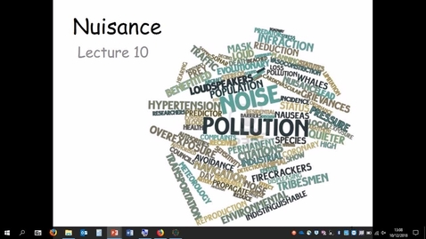 Thumbnail for entry Lecture recording: Nuisance