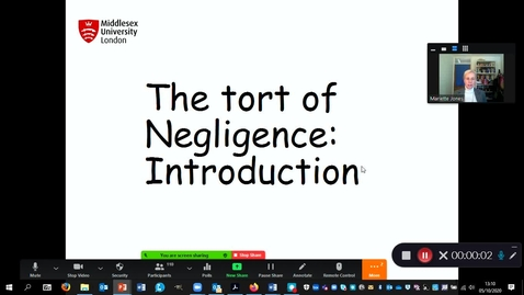 Thumbnail for entry Lecture 2 recording, Intro to Negligence, Duty of Care