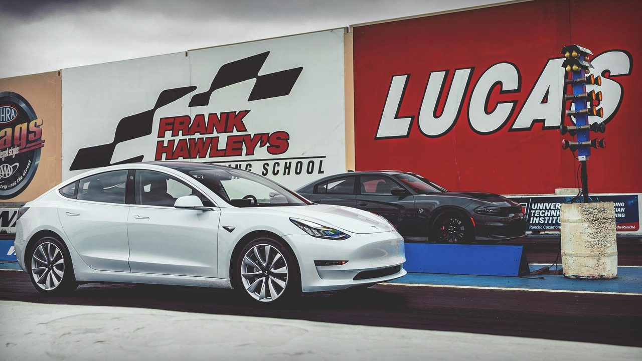Watch This! Tesla Model 3 vs. Dodge Charger Hellcat Drag Race