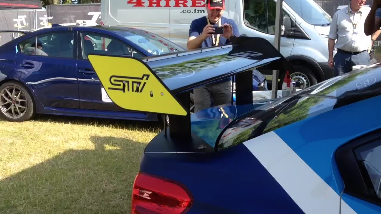 Subaru WRX STI's Adjustable Wing at the Isle of Man TT Road Course
