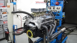 Inside the dyno cell of our 383 tri-power dyno test