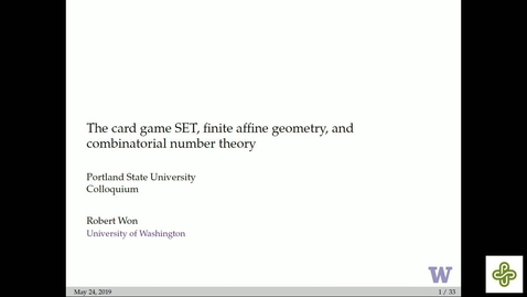 Thumbnail for entry 5/24/2019, Robert Won, University of Washington The card game SET, finite affine geometry, and combinatorial number theory
