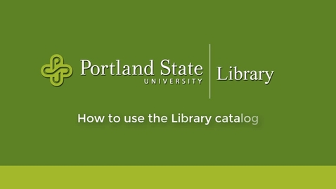 Thumbnail for entry PSU Library Catalog Tour