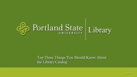 Thumbnail for entry Top Three Things You Should Know About the Library Catalog