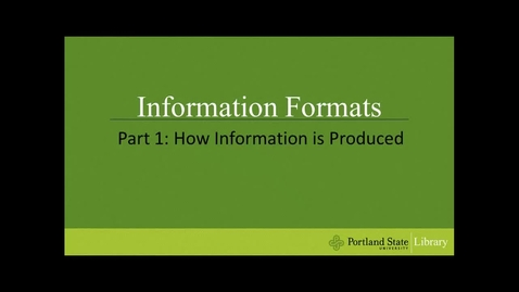 Thumbnail for entry Information Formats - Part 1