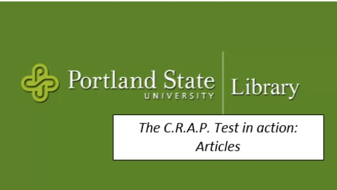 Thumbnail for entry The C.R.A.P. Test in action: Articles