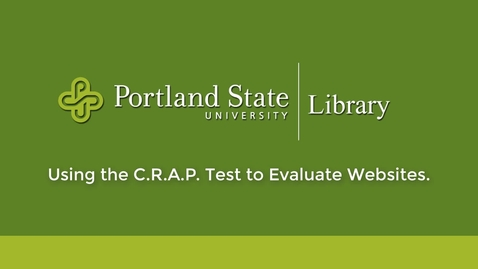 Thumbnail for entry Using the C.R.A.P. Test to Evaluate Websites