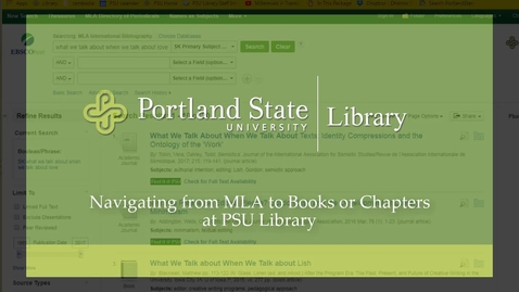 Thumbnail for entry MLA 4 Navigating from MLA to Books or Chapters @ PSU Library