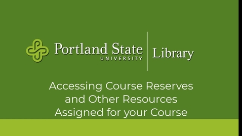Thumbnail for entry Finding Resources Placed on Course Reserve