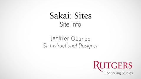 Thumbnail for entry Sakai: Site Info
