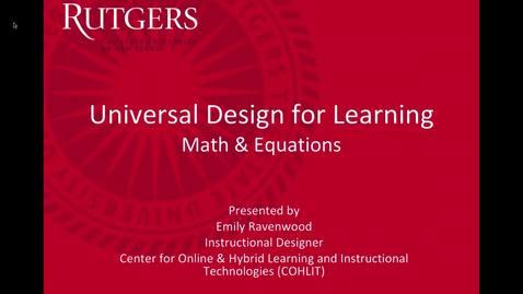 Accessibility UDL Math & Equations