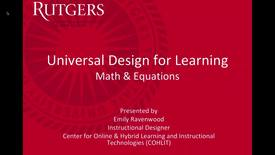 Thumbnail for entry Accessibility UDL Math & Equations