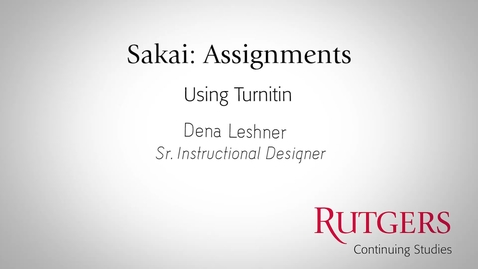 Thumbnail for entry Assignments: Using Turnitin