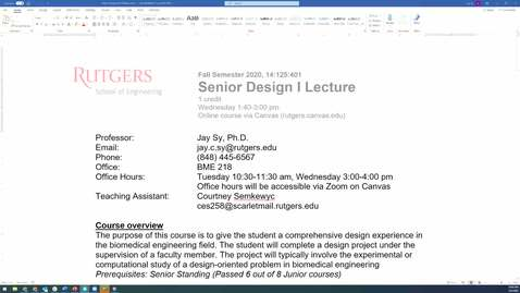 Thumbnail for entry SD Fall Syllabus overview