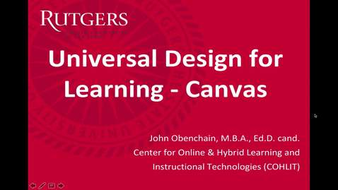 Thumbnail for entry Universal Design for Learning - Canvas