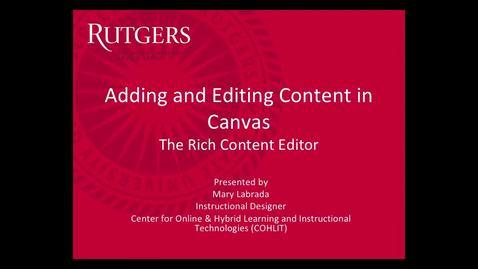 Canvas - Adding Editing Content