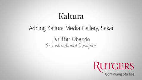 Thumbnail for entry Kaltura: Adding Kaltura Media Gallery