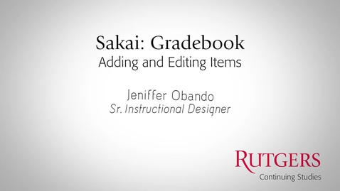 Thumbnail for entry Gradebook: Adding and Editing Items and FilteringDisplayed Items